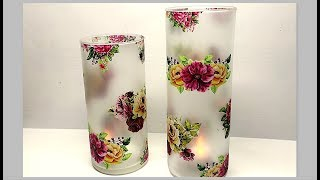 How to make frosted glass | decoupage on frosted glass