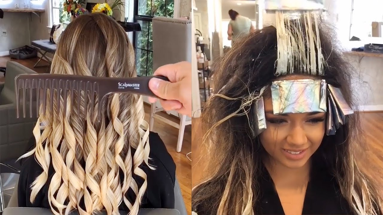 How To Balayage Hair Wavy Hair Haircut Compilation