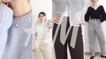 H&M fashion HAUL🧶 돌아온 니트의 계절〰️다섯가지 니트룩 • H&M 직원의 추천 기본템까지🤎 가을 패션 하울