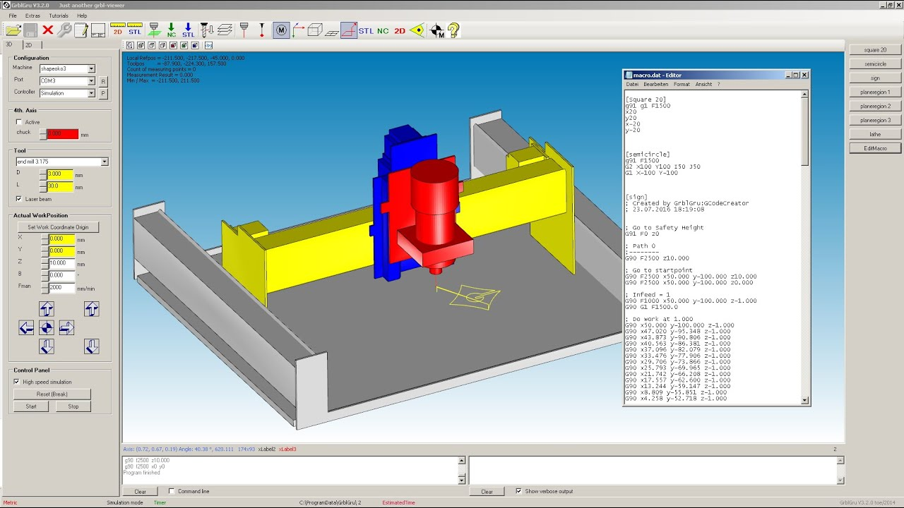 GrblGru: Free CAM and 3D-Simulation for mills and lathes