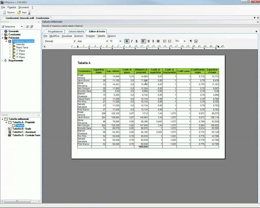 Tabelle Millesimali : Creazione tabelle millesimali delle