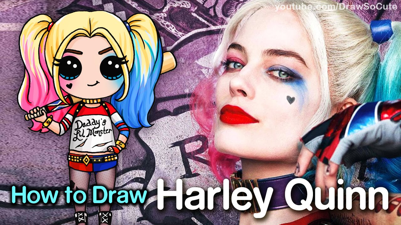 How to Draw Suicide Squad Harley Quinn step by step Chibi - YouTube