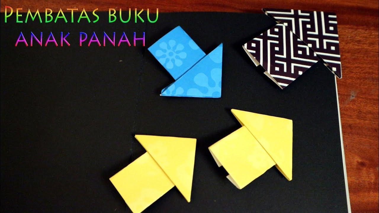 Cara membuat origami pembatas buku bentuk anak panah keren