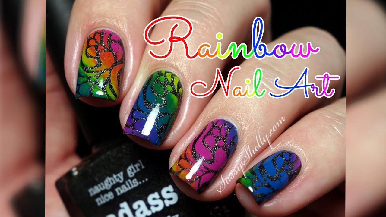 Badass Rainbow Nails Easy Nail Art Stamping Tutorial Youtube