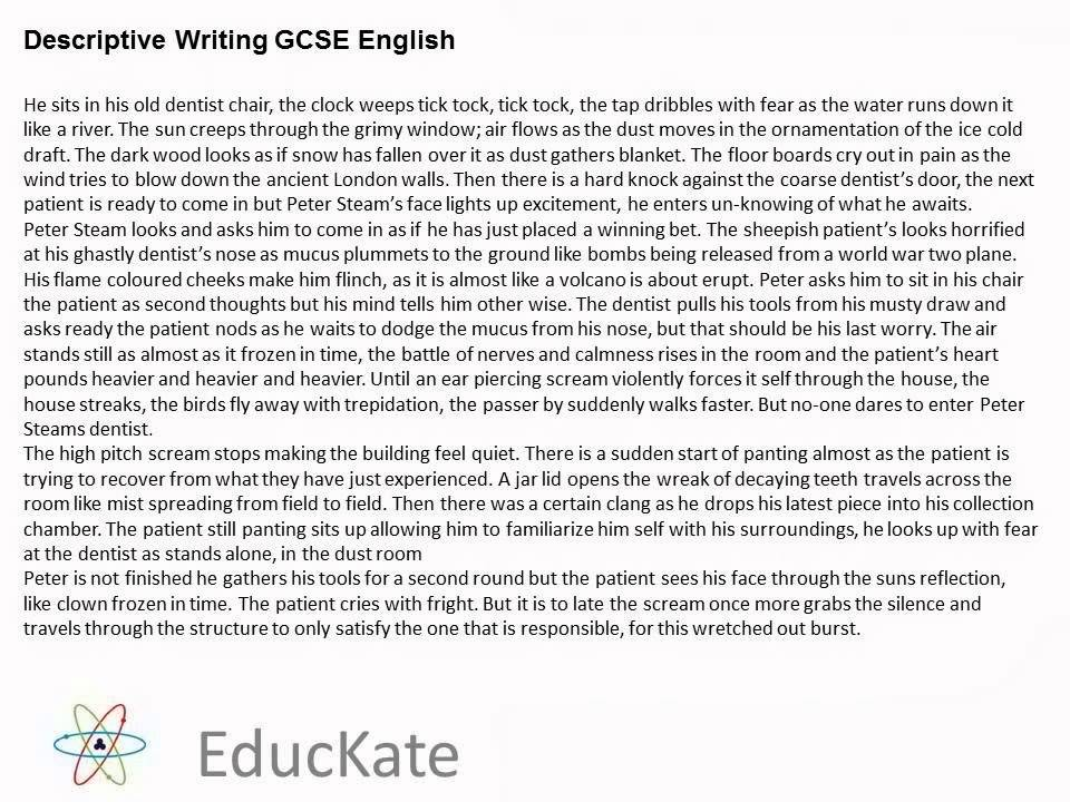 gcse english descriptive writing sample answer youtube