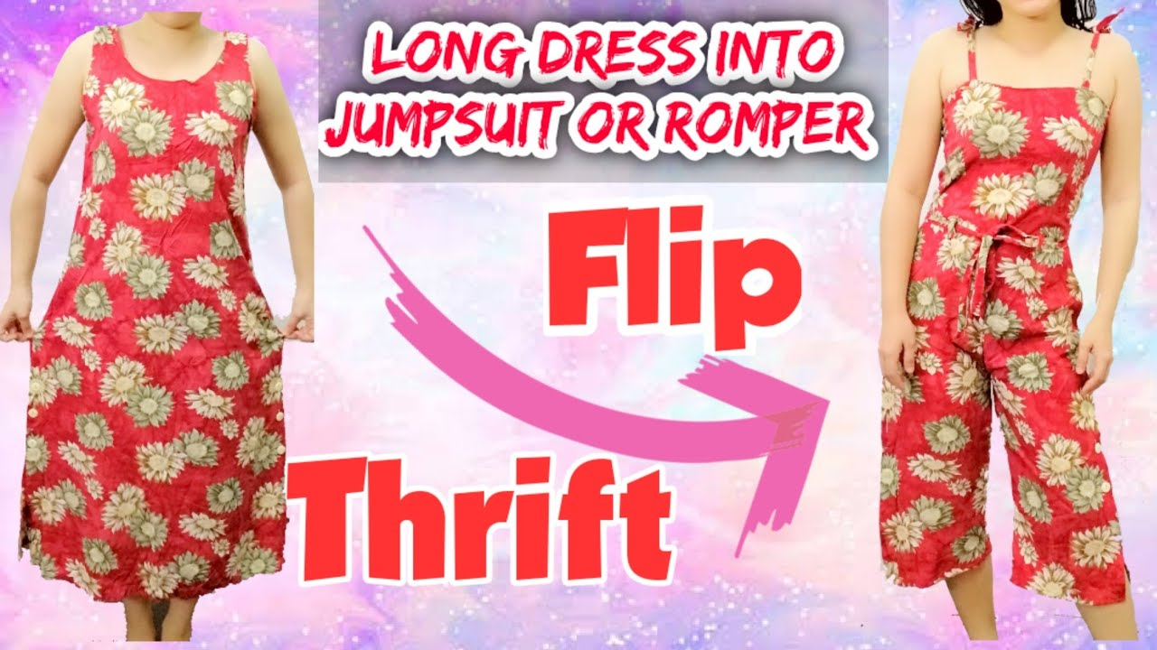 [VIDEO] - Thrift Flip with me (DIY Transformation) Long Dress into Jumpsuit / Romper 1
