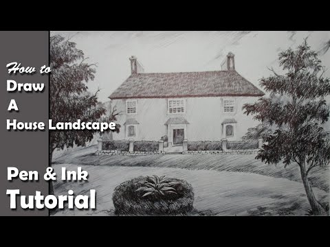 Pen & Ink Drawing Tutorial   How to Draw A House Landscape