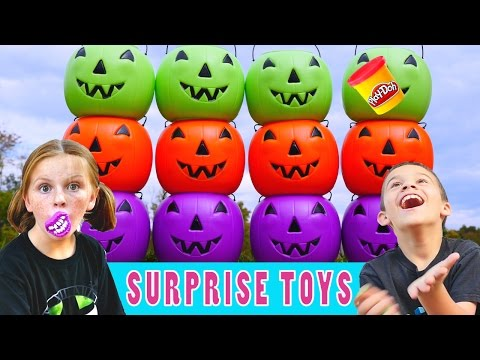 HALLOWEEN SURPRISE PUMPKIN GAME - Frozen Play Doh Minecraft Hello Kitty Superhero Blind Bag Egg Toys
