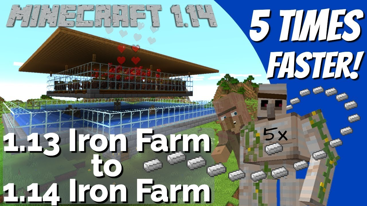 How to make an Iron Farm in Minecraft 1 14 | Convert a 1 13 Iron Farm to a  1 14 Iron Farm (Avomance)