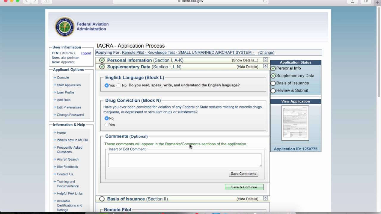 Using Iacra Applying For Remote Pilot Certificate Youtube