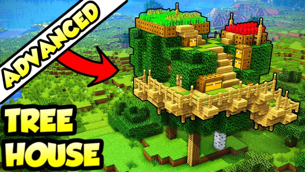 Minecraft Advanced ULTIMATE Big Tree House Tutorial (How to Build)