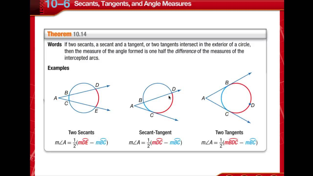 Geometry Lesson 106 Secants Tangents An Angle Measures Youtube