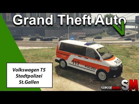 Volkswagen T5 Facelift Stadtpolizei St.Gallen | Gta V © Suisse Mod's
