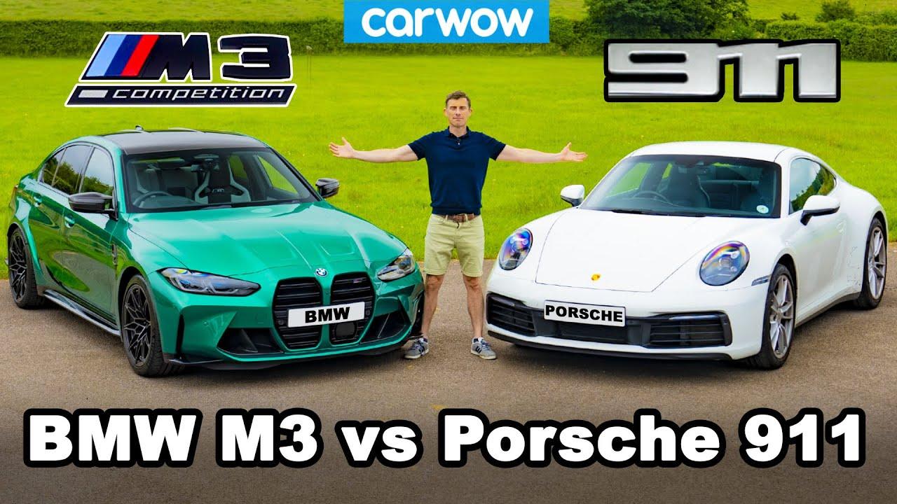 Nuevo BMW M3 vs Porsche 911 -  ¡reseña con frenado de 0-100 km/h!
