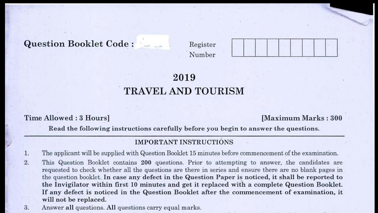 Travel and tourism | answer key dated 29.09.2019 ...