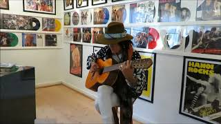 Andy McCoy made a surprise visit to Hanoi Rocks exhibition in Karkk...