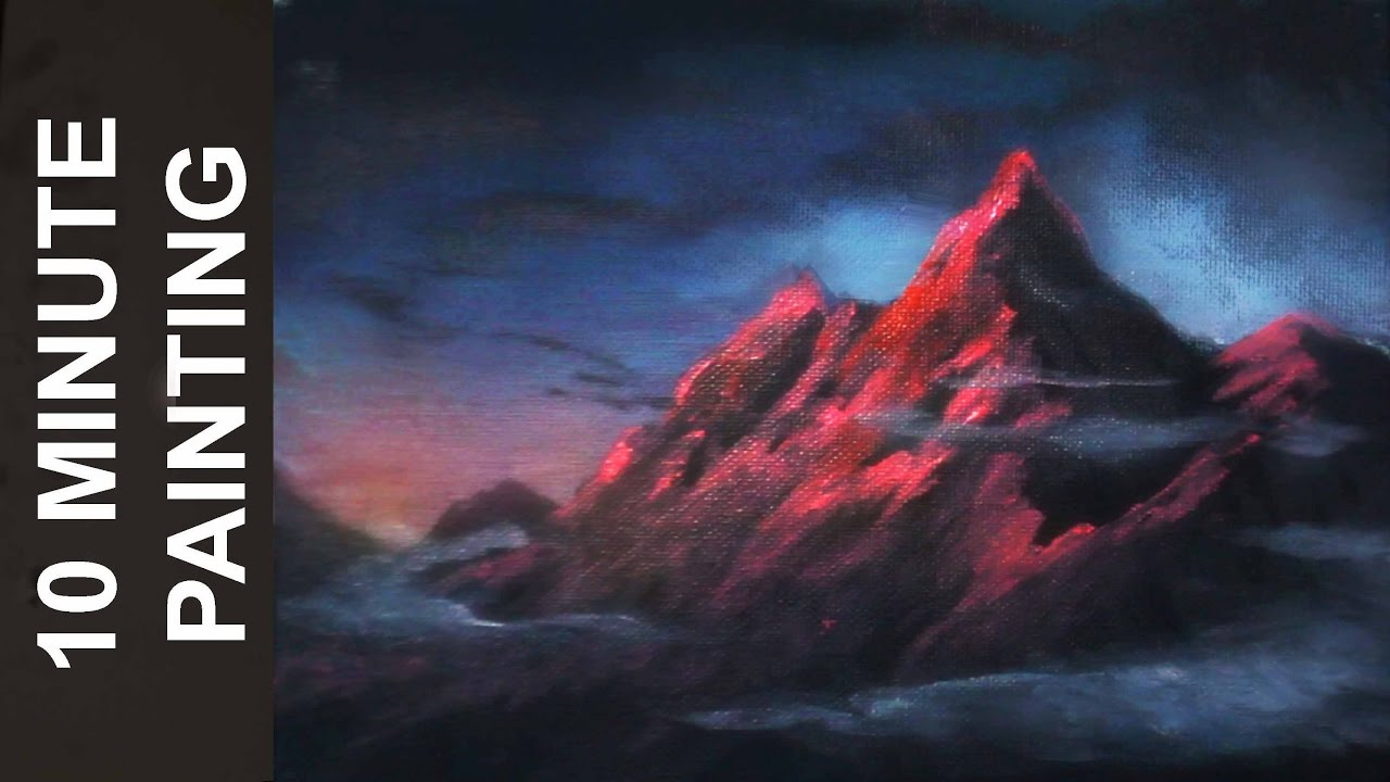 2a1e28324 Painting a Mountain During Twilight with Acrylics in 10 Minutes ...