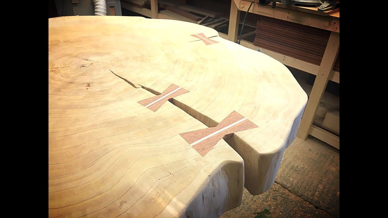 making bow ties for a live edge table top youtube. Black Bedroom Furniture Sets. Home Design Ideas