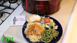Easy Crock Pot Slow Cooker Recipe Chicken Spaghetti w Boneless Skinless Chicken Thighs