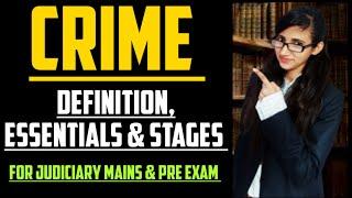 DEFINITION OF CRIME IN IPC, ESSENTIALS OF CRIME IN IPC, STAGES OF CRIME IN IPC,