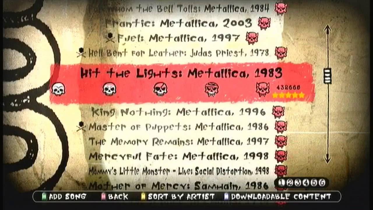 Guitar Hero Metallica All Dlc Fgfc Set List Scroll Youtube