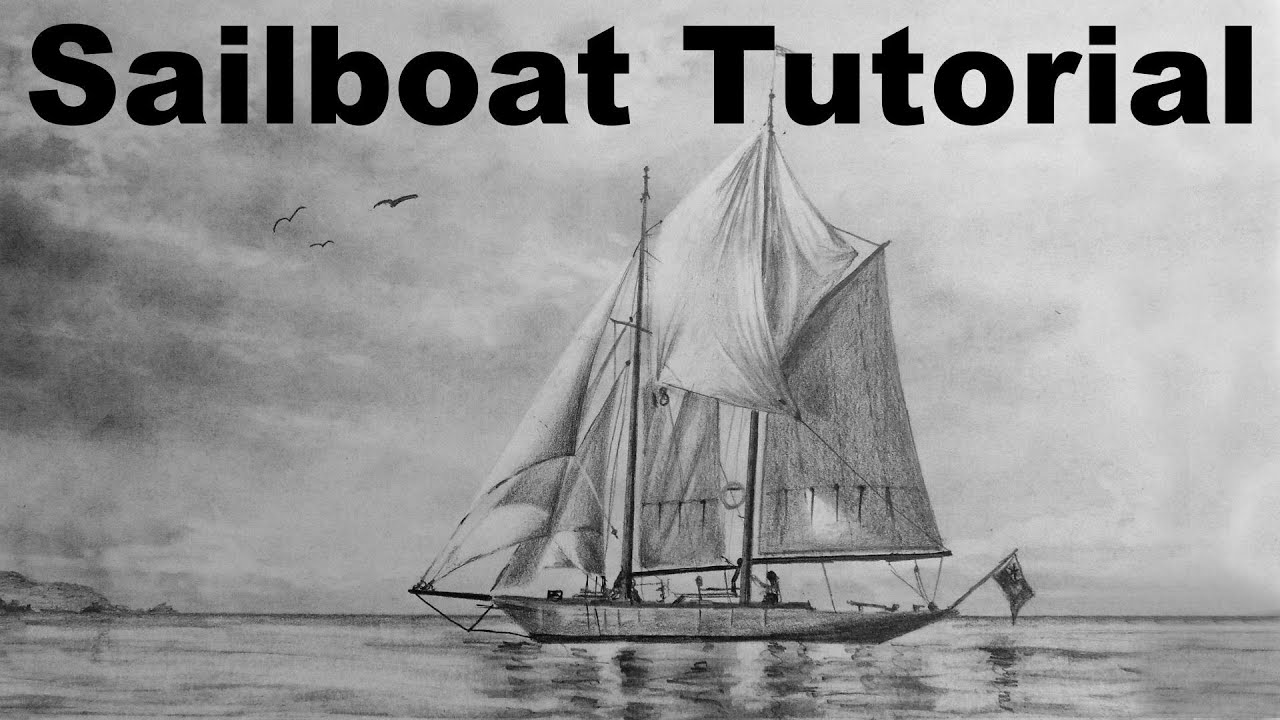 How to draw a sailboat sailing boat ship drawing time lapse