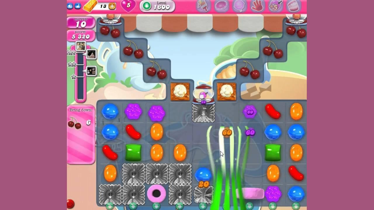 Candy crush saga level 1600 no boosters youtube - 1600 candy crush ...