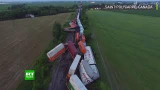 Canada : le déraillement d'un train de marchandises à la frontière Ontario-Québec filmé par drone