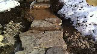 Installing large stone landscape steps Part 2 Landscape construction