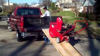 unloading a snow blower using the one man ez load system