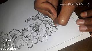 Arabic mehndi design with pencil/ mehndi design with pencil on paper
