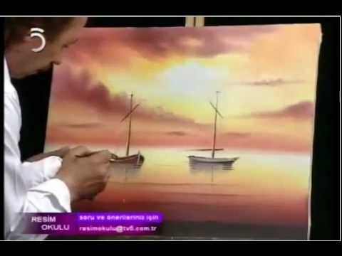 Yağlı Boya Resim Gün Batımı Deniz Manzarası Part 2 Youtube