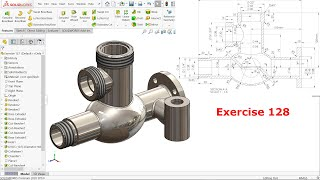SolidWorks Exercise 128-Flanged Valve Body