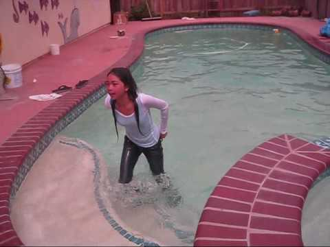 ceejay gets pushed into the pool