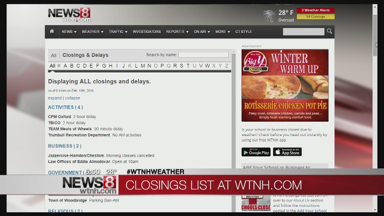 The latest school closings, parking bans, delays