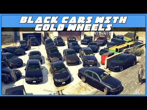 GTA5 // BLACK CARS w/ GOLD WHEELS MEET