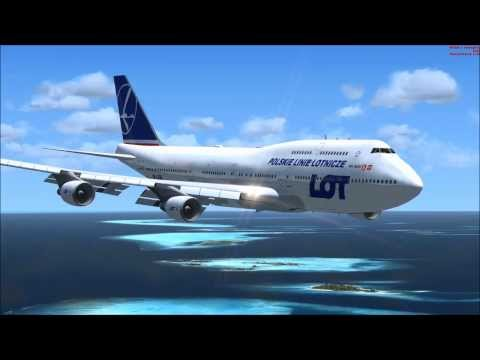 B747-4 Lot Polish Airlines landing Maldives, Male -  kpt  zpool, FSX