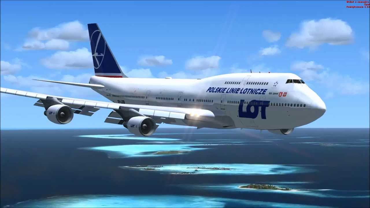 b747 4 lot polish airlines landing maldives male kpt zpool fsx