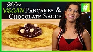 #fame food -​​ How To Make Oil Free Vegan Pancakes and Chocolate Sauce for Valentine's Day
