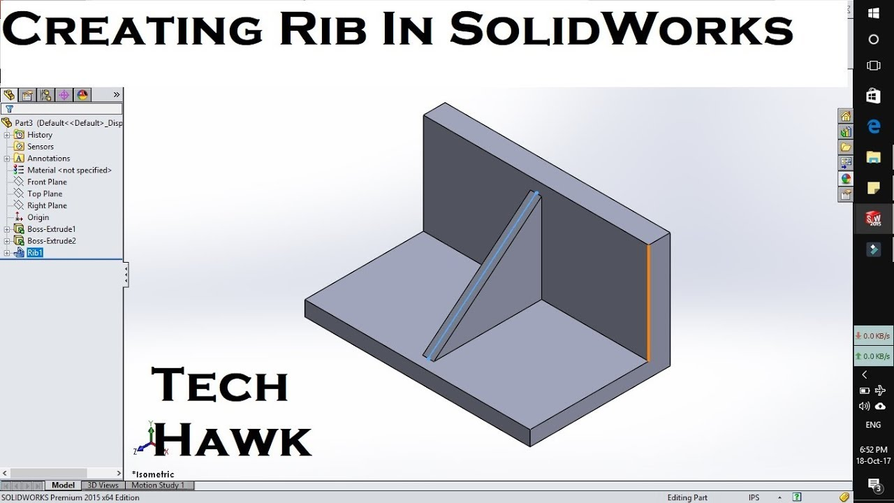 How To Use Rib Tool Feature In Solidworks Creating Ribs Between Plane Tech Hawk Tutorial Youtube