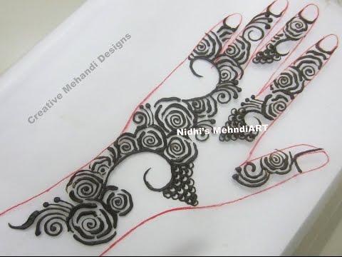 Stylish Roses Henna Mehndi Design On Back Hand Tutorial Youtube