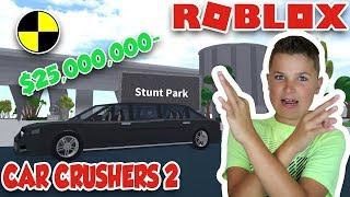 CRUSHING MY 25,000,000 MILLIONS DOLARS LIMOUSINE in ROBLOX CAR CRUSHERS 2