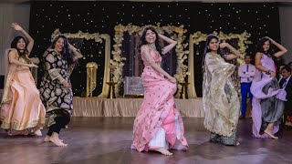 INDIAN WEDDING RECEPTION DANCE - COUPLE'S LOVE STORY (SKIT) | Bollywood Dance | Sangeet Choreography