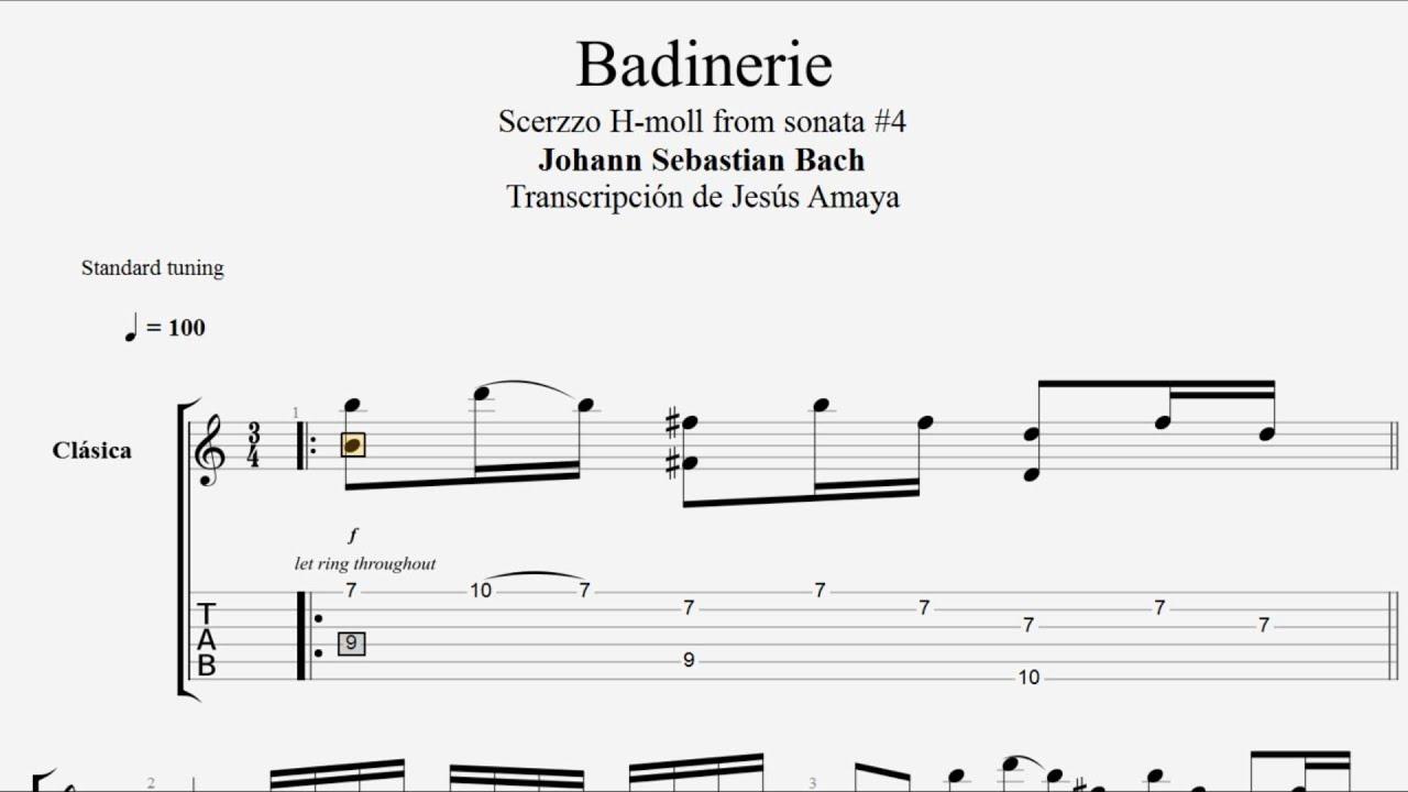 Badinerie Johann Sebastian Bach Tablatura de Guitarra