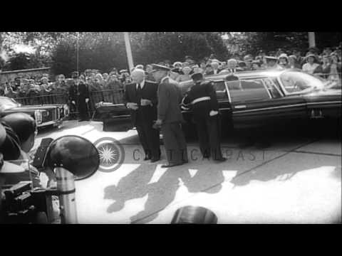 US President Eisenhower arrives in France during a personal visit and receives a ...HD Stock Footage
