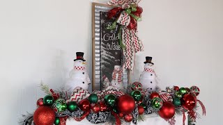 How To decorate A Fireplace For Christmas  (snowman christmas theme )