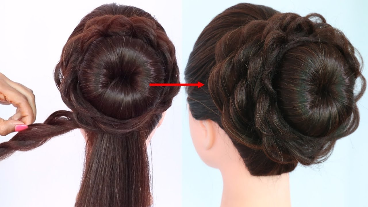 messy bun for gown, lehenga, saree, western wear, party, weddings || bridal hairstyle || hairstyle
