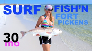 SURF FISHING Ft. Pickens for Bull Redfish - Pensacola Florida