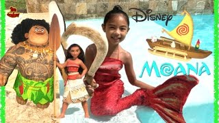 Disney Moana Turns Mermaid Maui's Magical Fish Hook Adventure Canoe Unboxing | Toys Academy