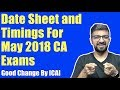 ICAI Announcement   Very Important News For May 2018 Exams   Change in Time
